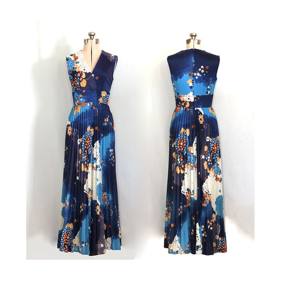 Vintage 70s Starry Psychedelic Nights Maxi Dress
