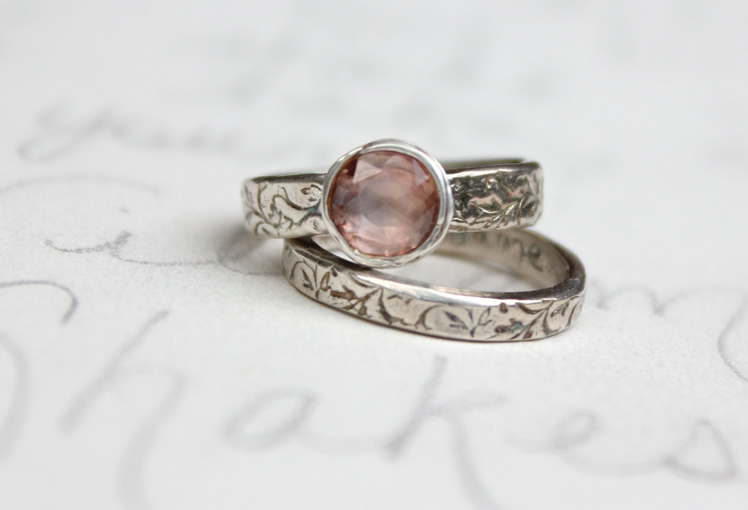 Sapphire Engagement Ring Wedding Band Set. Blush Pink