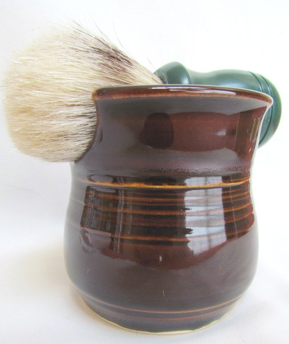 Brown Shaving Mug with Soap Set by Centered ClayWorks
