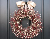 Holiday Wreath - Front Door Wreaths - Holiday Decor - Red and Cream Decor