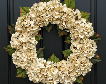 Wedding Decor, Wedding Wreaths, Champagne, Front Door Wreath, Holidays, Wedding Hydrangeas, Party Decorations