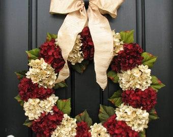 Merry Christmas, Traditional Christmas, Holidays, Christmas Wreaths, Hydrangeas, Home for the Holidays, Home Decor
