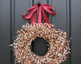 Wreath - Fall Wreaths - Berry Wreath - Autumn Wreath - Berry Wreaths - Shabby Chic Decor - Cottage Chic