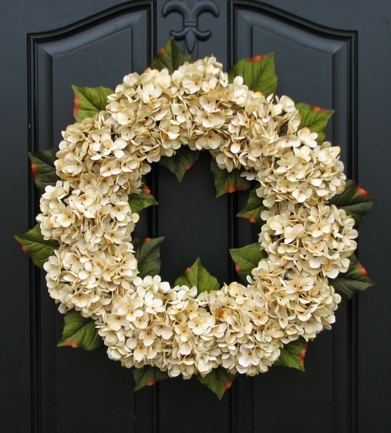 Wedding decor wedding wreaths champagne front door wreath for Wedding door decorating ideas
