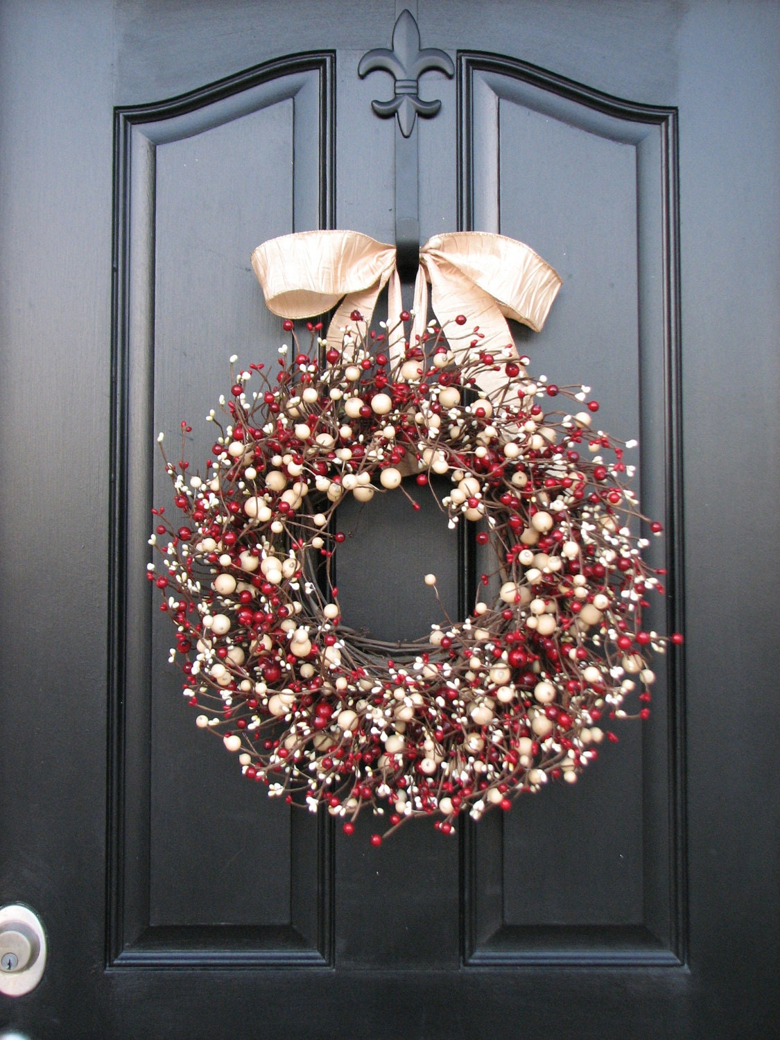 Holiday wreath front door wreaths holiday decor red and for Front door xmas wreaths