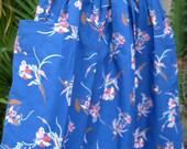 Blue vintage floral circle skirt cobalt lily iris flowers mustard full volume nipped waist patch pockets