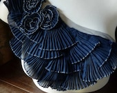 RESERVED Navy Blue Applique Pleated and Ruffled for Costume Design, Altered Couture CA