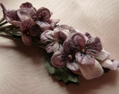 Velvet Millinery Pansies in Mauve for Boutonnieres, Headbands,Corsages, Bouquets MF205