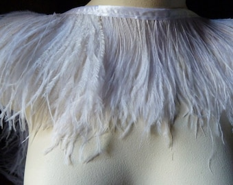 """Second quality - 4"""" strip Ostrich Fringe Two Ply in White for Bridal, Headbands, Flapper, Masks, Tribal Fusion, Costume Design"""
