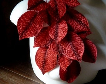 SALE Velvet Leaves 18 Vintage Japanese in Red Shaded for Bridal, Floral Supply, Millinery, Costume Design. ML 67