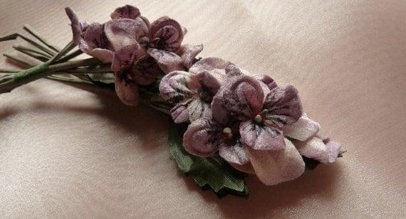 Mauve Pansies Velvet Millinery for Boutonnieres, Headbands,Corsages, Bouquets MF205