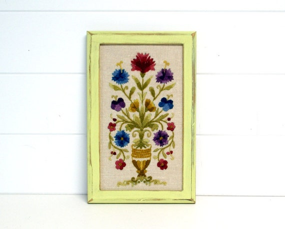 Shabby Flea Market Chic Framed Crewel Embroidered Wall Hanging