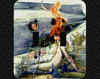 Double Light Switch Plate Cover- Mermaid and Submarine