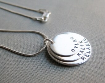 Overlapping Memory Necklace - Three Tag Necklace