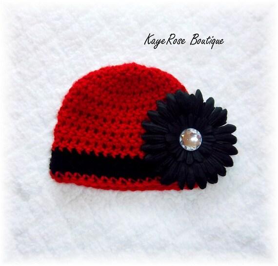 Newborn Baby Girl Striped Crochet Flower Hat Red and Black