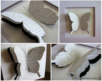 Set of 2 JANE AUSTEN Upcycled Large 3D Layered Single Butterfly on approx 6x6 inch Watercolour Background. You Choose Book. Made to Order