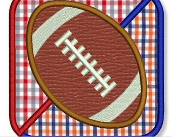 HOUSE DIVIDED Football Square Applique 4x4 5x7 6x10 Machine Embroidery Design fall ball game boy  INSTANT Download