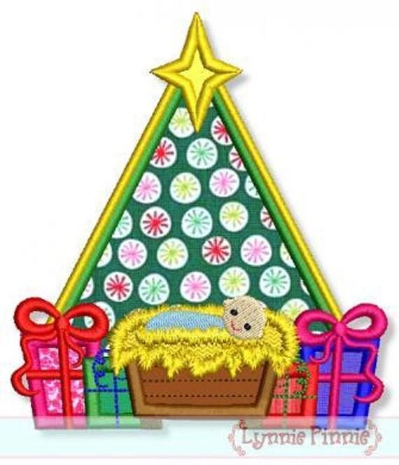 Baby Christmas Trees: CHRISTMAS Tree With Baby JESUS Applique 4x4 5x7 6x10 7x11