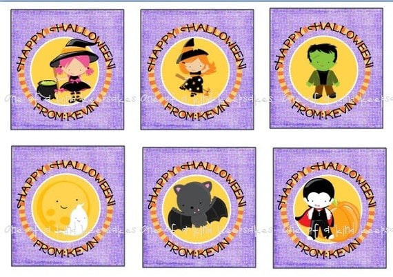 It is a graphic of Refreshing Halloween Tags for Goodie Bags