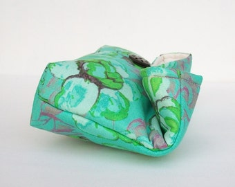 Handmade Makeup Bag, Bridesmaid Gift, Floral Blue Green Clutch Purse, Great for Travel, Gift Under 25, Bridesmaid Clutch