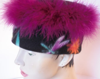 Black Floral Fleece Hat, Feather trimmed Print warm cap, Magenta Flowered Black hat.
