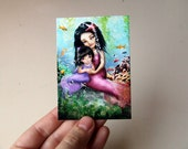 "ACEO/ATC Mermaid Mini Art Print ""Water Baby"" Fairy Tale Mother and Daughter - Artists Trading Card Mini Premium Fine Art Print 2.5x3.5"