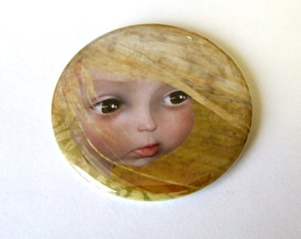 "Art Mirror - ""Summer"" - Pocket Mirror Made From Original Art Print 2 1/4 inches with Organza Bag"