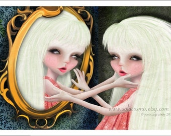 "5x7 Premium Art Print ""Vanity"" Small Size Giclee Print of Original Lowbrow Artwork - Seven Deadly Sins Little Girl Looking in MIrror"