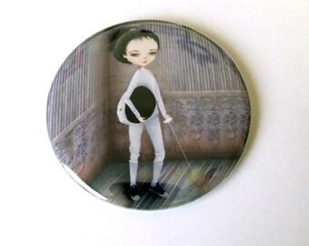 The Fencer Pocket Mirror with Organza Bag