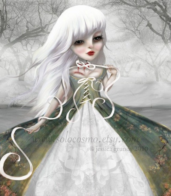 """Print - Dead Woman Ghost Story White Haired """"Jeanne"""" Fine Art 8.5x11 or 8x10 Print of Original digital Art Painting - Spooky Stories"""