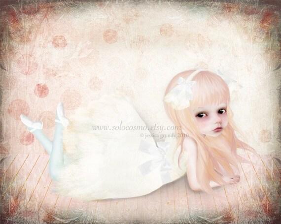 The Swan Princess 8x10 or 8.5x11 Medium Sized Giclee Art Print - Little girl in pink and white - Ballerina Artwork - Nursery Room Art