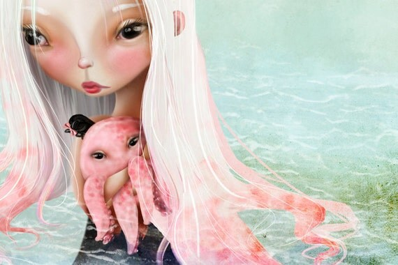 """5x7 Small Sized Fine Art Print - """"A Friend for the Journey"""" - Cute Little girl with pet octopus - Artwork by Jessica Grundy"""