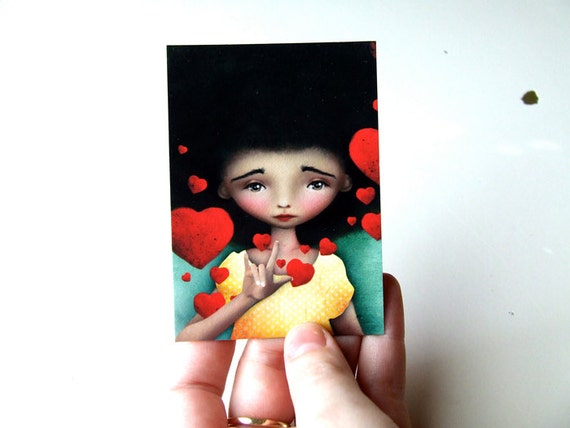 "ACEO/ATC ""Gesture"" ASL American Sign Language Symbol of I Love You  Artists Trading Card Mini Print Premium Giclee Fine Art 2.5x3.5"