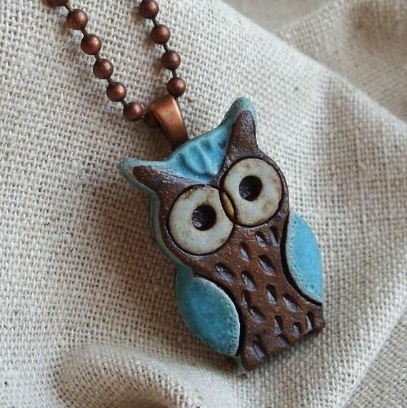 Little Turquoise Owl Ceramic Necklace Ceramic Pendant