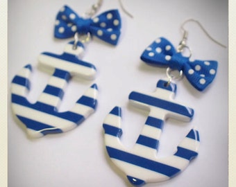 Large Old School plastic Pin Up- style striped Anchor Earrings, blue