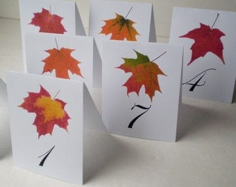 INSTANT DOWNLOAD -Print Your Own - Assorted Maple Leaf Table Number - Tent Style - Set of 1-20 - 4.25x5.5 inches  - PDF Format