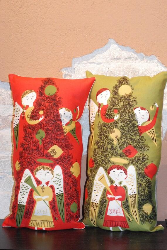 Modern Christmas Pillow : Items similar to Tammis Keefe Angel Fabric Christmas Pillows - Modern Vintage Christmas Home ...