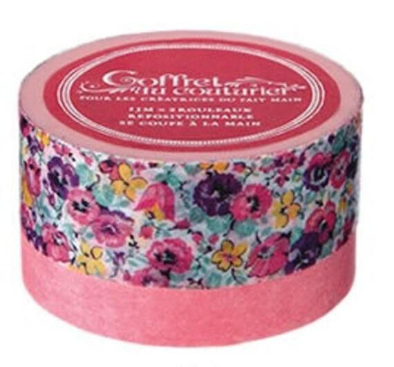 Japanese washi masking tape - coffret au couturier - set of 2 - pink