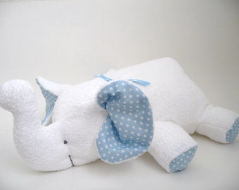 Elephant plush toy- White terry cloth  with light blue polka dots  accents