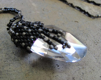 Peyote Beaded Cut Glass Necklace in  Black and Silver