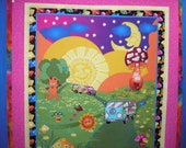 Quilt Kit Trippin Panel Avlyn Hippie Pre-Cut with 4 Borders 52 Inch by 61 Inch Peace Sign