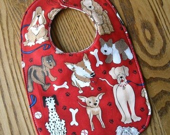Reversible Baby Bib, Red with Dogs, Bones, Paw Prints Triple Layer, Snap Closure