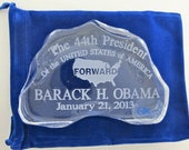 Obama inauguration glass paperweight / plaque