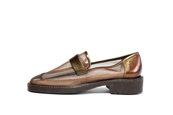 YSL Copper Leather and Mesh Loafers 6