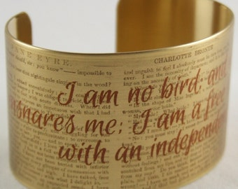 Jane Eyre Literary Quote - Cuff Bracelet - I Am No Bird - Bronte Literary Gifts - Book Lover Gifts For Women - Bestfriend Friendship Gift