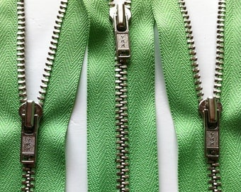 Metal Zippers-YKKclosed bottom nickel teeth zips- (5) pieces - 536 Spring Green- Available in 6,7,9,12,14 and 18 Inch