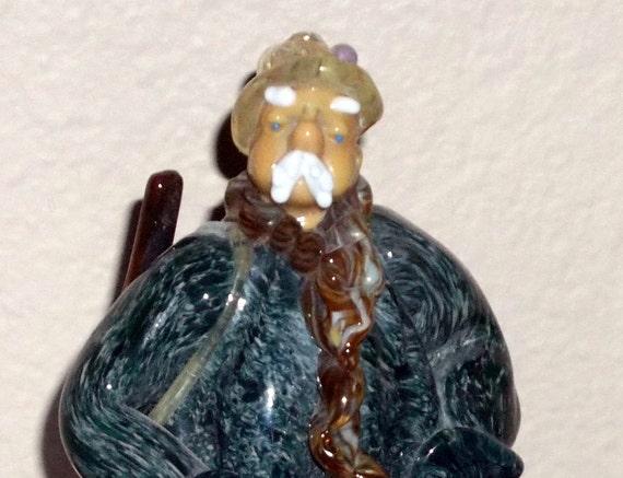 ON HOLD  Reserved Vintage Hand Blown Czech Art Glass Figurine HUNTER Zelezny Brod