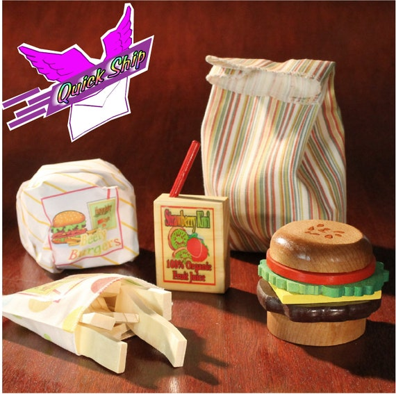Toy  Food Wood Hamburger Stacker and Fries in a Fabric Bag with Juice Box. 20 Pieces