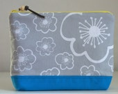 Grey Flowers Large Padded Zipper Pouch Gadget Case Cosmetics Bag - READY TO SHIP
