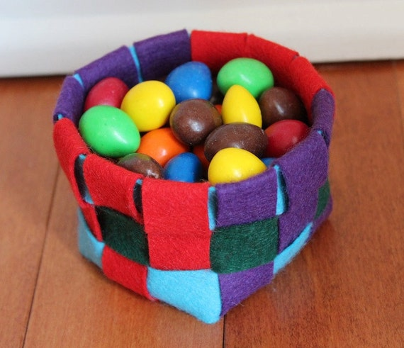 Woven Felt Basket - Blue, Green, Purple, and Red